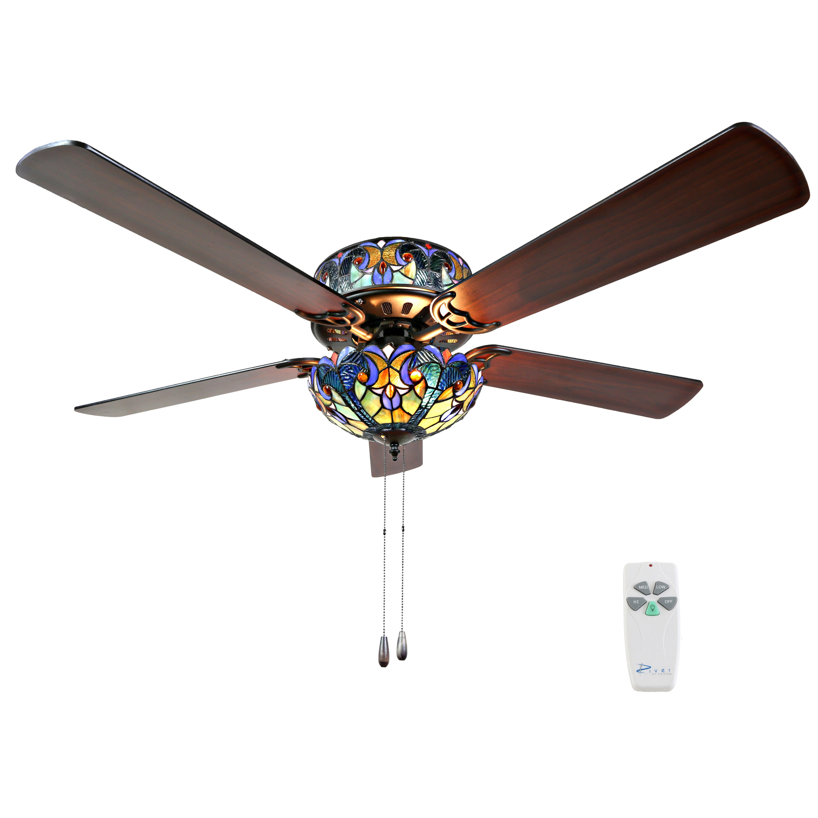 "River of Goods 52""W Halston Stained Glass 5-Blade Ceiling Fan With Remote"
