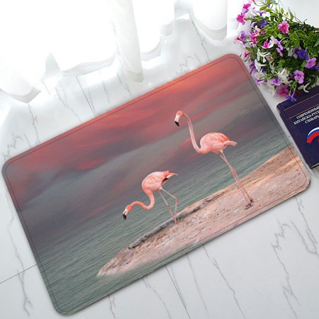 PHFZK Watercolor Animal Doormat, Tropical Beach Pink Flamingo Doormat Outdoors/Indoor Doormat Home Floor Mats Rugs Size 30x18