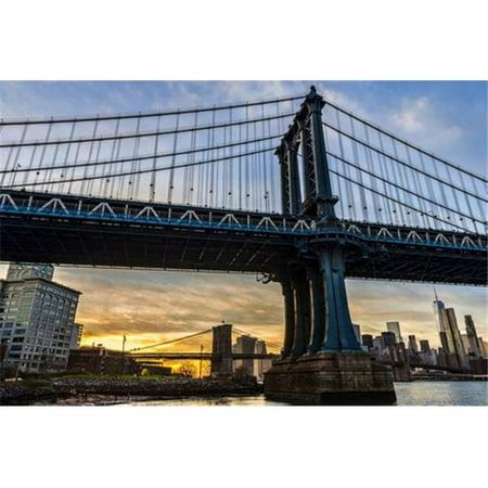 Posterazzi DPI12305709LARGE Manhattan & Brooklyn Bridges At Sunset Brooklyn Bridge Park - Brooklyn New York United States of America Poster Print by F. M. Kearney, 36 x 24 - Large - image 1 of 1