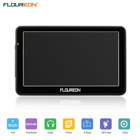 FLOUREON GPS Navigator 7.0 inch GPS Navigation System with Lifetime US/Canada/Mexico Maps Spoken Turn-By-Turn Directions Direct Access Driver Alerts For Car Vehicle Truck Taxi (Black) (Gps For Truck Drivers)