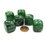 Chessex Velvet 20mm Big D6 Dice, 6 Pieces - Green with Silver Pips #DL2025
