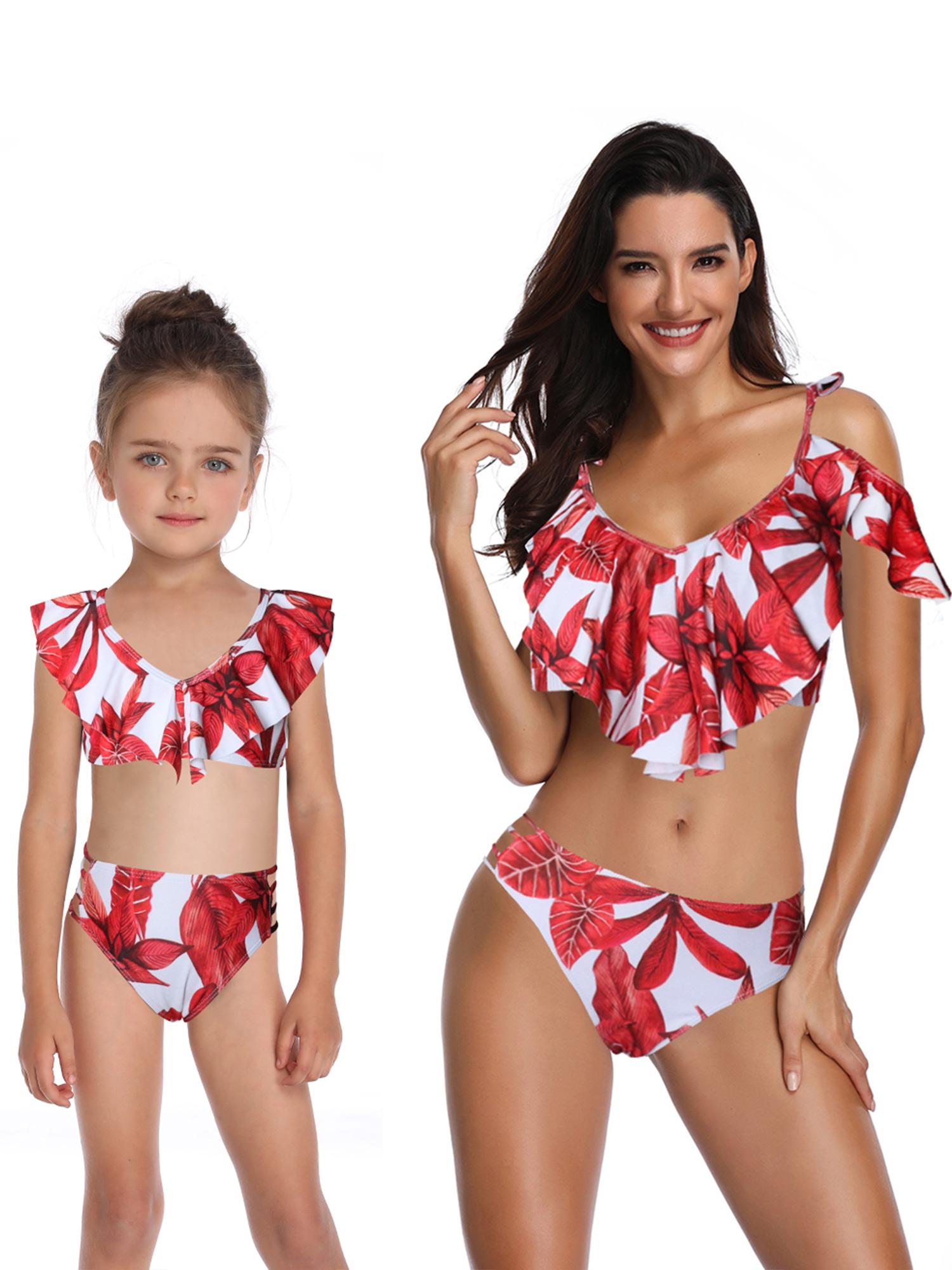 Girls Kid Swimwear 2-Piece Bikini Swimsuit Set Bathing Suit Tankini Beachwear