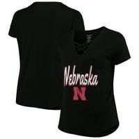 Nebraska Cornhuskers Women's Plus Size Caged Front T-Shirt - Black