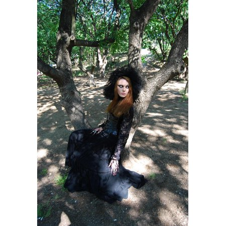 Gothic Makeup (Peel-n-Stick Poster of Witch Fineart Gothic Forest Makeup The Model Dark Poster 24x16 Adhesive Sticker Poster)
