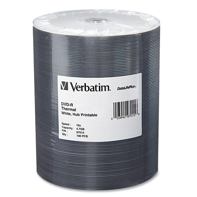 Verbatim DVD-R 4.7GB 16x DataLifePlus White Thermal Hub-Printable Wrap, 100pk