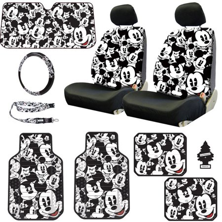 New Design Disney Mickey Mouse Sideless Car Seat Covers Floor Mats Steering Wheel Cover Lanyard Set with Air (Best New Car Accessories)