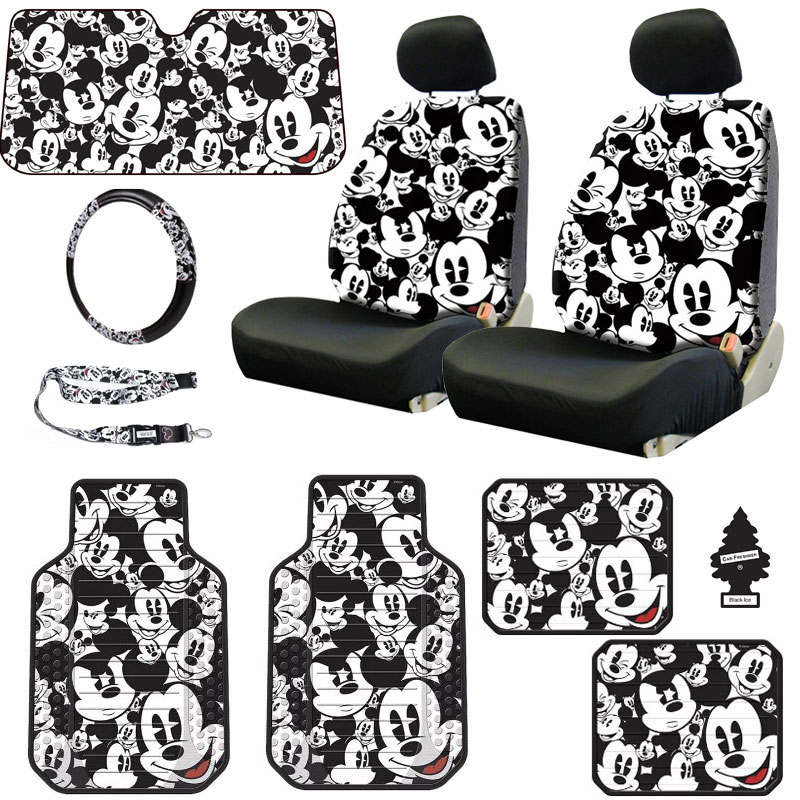 New Design Disney Mickey Mouse Sideless Car Seat Covers Floor Mats Steering Wheel Cover Lanyard Set with Air Freshener