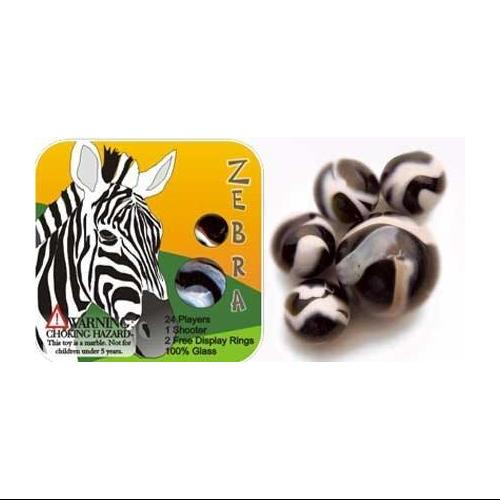 Zebra Marbles Set - 24 Players, 1 Shooter, and 2 Display Rings