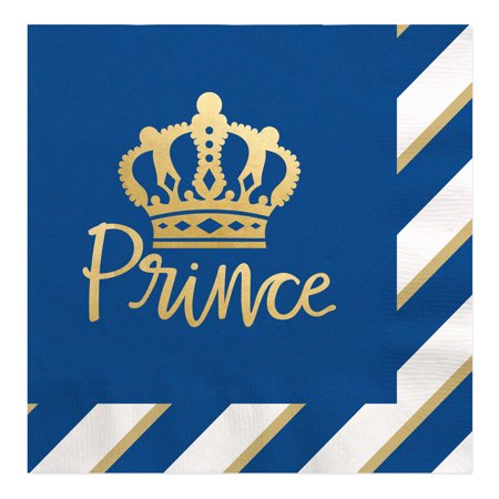 Royal Prince Charming with Gold Foil - Baby Shower or Birthday Party Luncheon Napkins (16 Count)