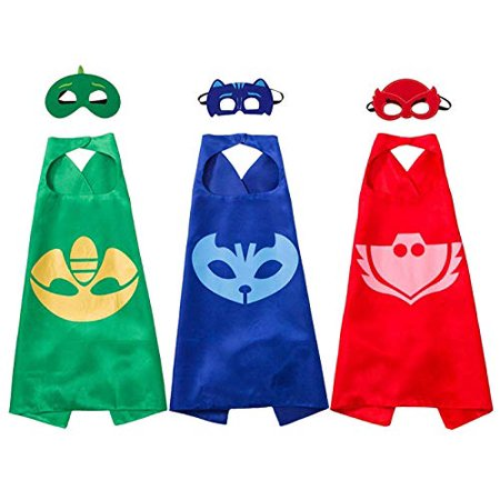 Joy Day Capes and Masks for Kids Costumes and Dress Up for PJ Boy Birthday Party Favors Set of 3