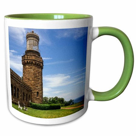 3dRose USA, New Jersey, Highlands, Twin Lights of Navesink, North Tower. - Two Tone Green Mug, 11-ounce