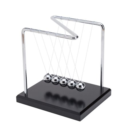 THY COLLECTIBLES Unique Z-Shape Wooden Base Newtons Cradle Balance Balls 5.5 inch Desk Top Decoration Kinetic Motion Toy For Home And Office - Desk Decoration