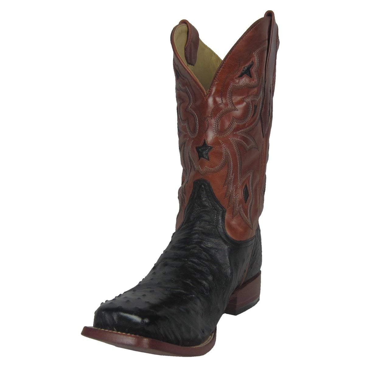 CORRAL Mens Cango Tobacco Full Quill Ostrich with Black Shoulder Counter Square Toe Cowboy Boots A2633