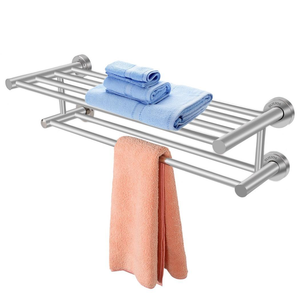 Hascon Bathroom Wall Mounted Towel Rack Holder Dual Row Shelf Home Hotel HITC