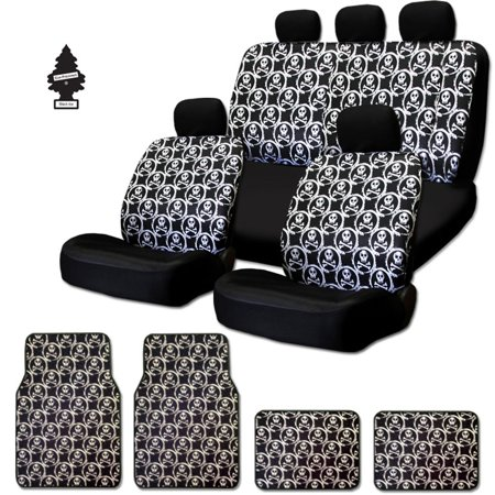 NEW Cool Skull Design Front And Rear Car Seat Covers 4 Carpet Floor Mats Set