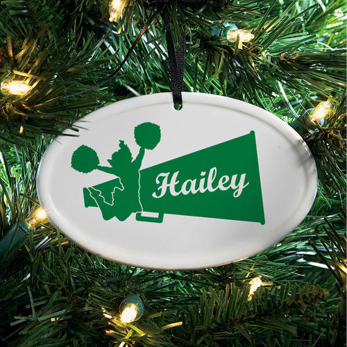 Personalized Cheer Ceramic Oval Ornament