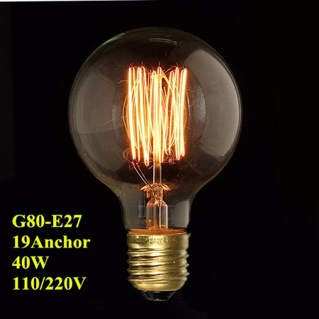 E27/26 G80 40W Vintage Edison Bulb 40 Watt 220V G80 Edison Light Bulbs E26/E27 Base Incandescent Bulb for Home Light Fixtures, Pendant Lighting, Wall Sconces, Hotel, Bar ()