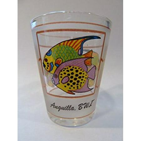 Anguilla, BWI Tropical Fish Triple Window Shot Glass