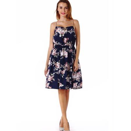 a05c33a57dc1 SAYFUT - Women s Sleeveless Floral Print Halter Mock Neck Casual Dress  Beach Backless Sexy Strapless Mini Dresses for Summer - Walmart.com