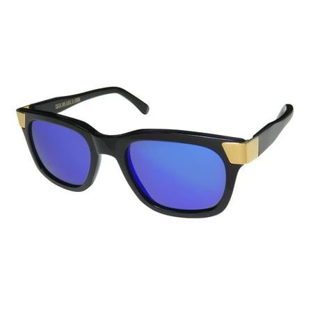 New Cutler And Gross 1142 Mens/Womens Rectangular Full-Rim 100% UVA & UVB Black / Gold Prestigious Brand 100% UV Rays Protection Frame Mirrored / Multi-Color Lenses 52-20-145 Sunglasses/Sun (Ray Ban Glass Frames)