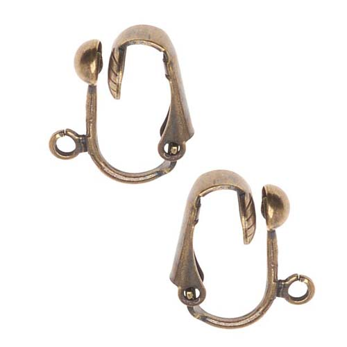 Antiqued Brass Clip On Ball Earrings Findings (2 Pair)