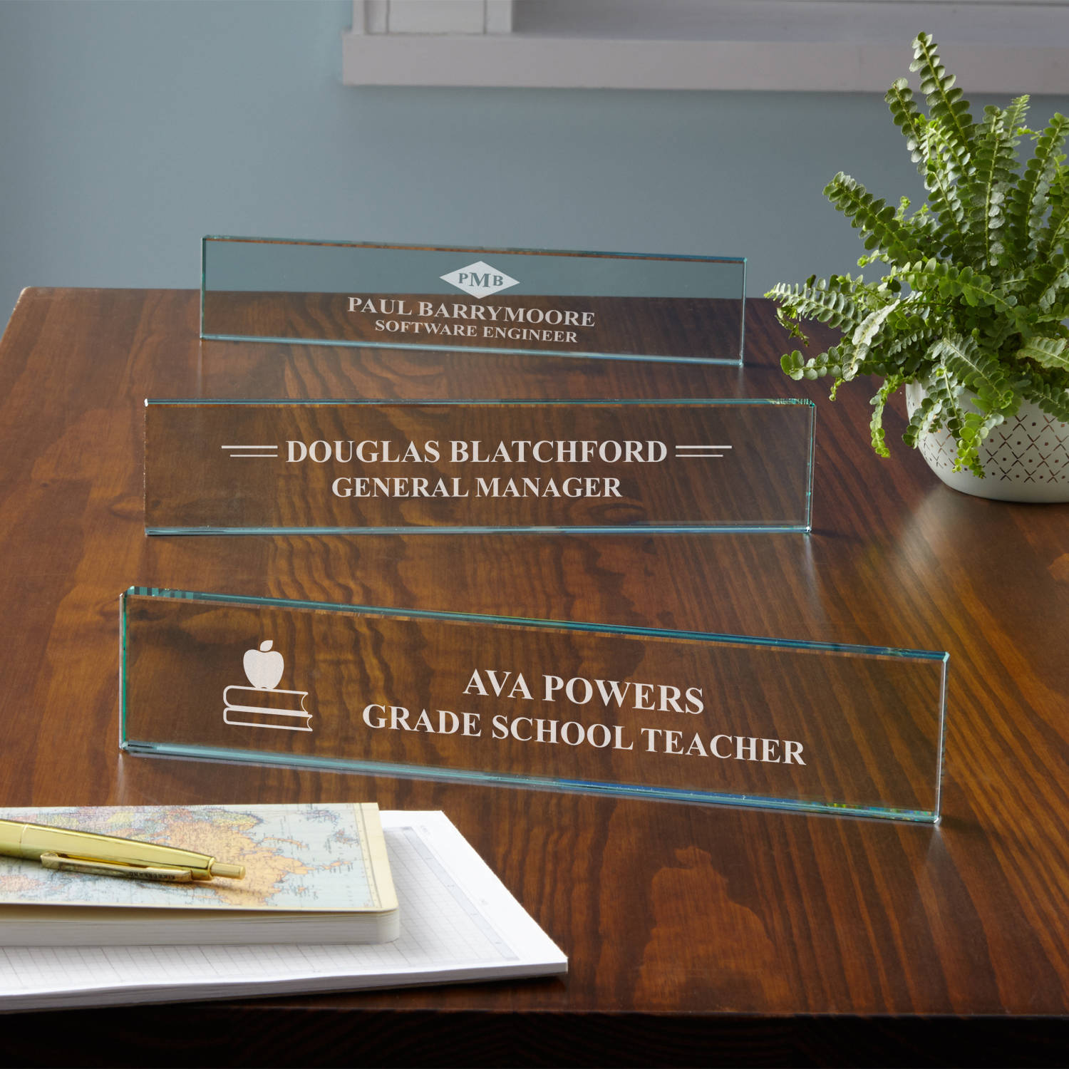 Personalized Beveled Glass Nameplate, Available in 6 Designs
