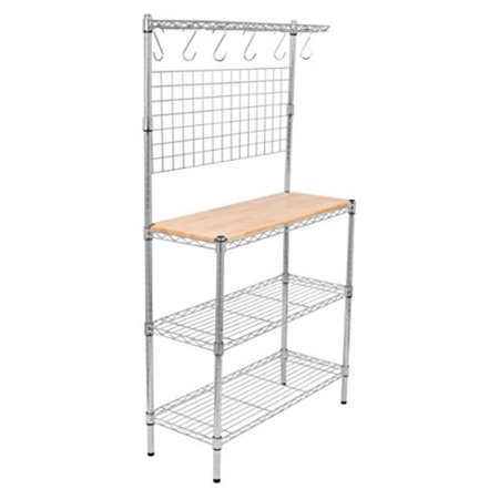 Internet's Best 3-Tier Baker's Rack | Chrome | Kitchen Storage Shelving | Adjustable Wire Stand with Removable Cutting Board and 6 Hanging (Best Over The Counter Exfoliator)