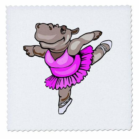 3dRose Hippo Ballet Dancer - Quilt Square, 10 by 10-inch - Fantasia Hippo Ballet