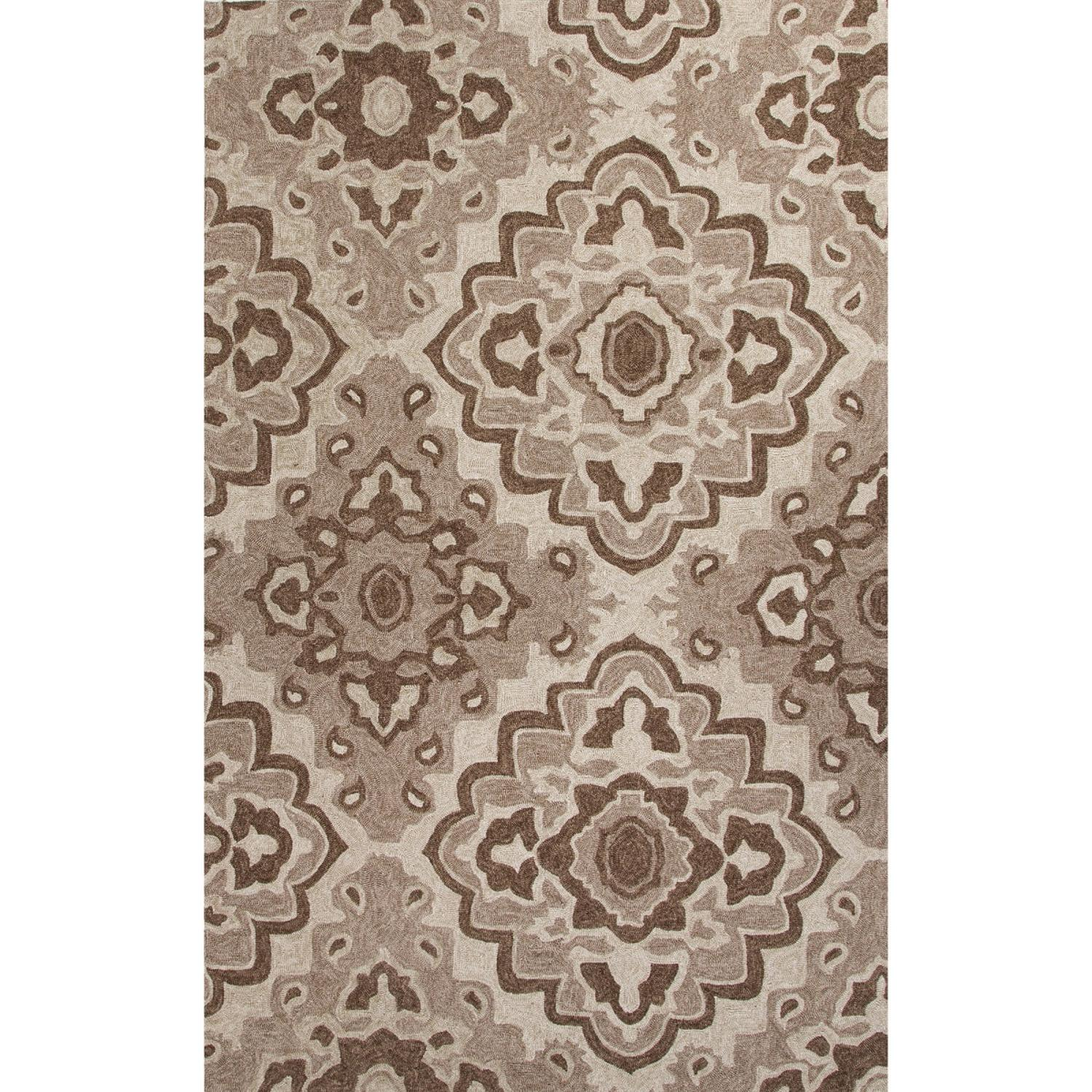 3' x 5' Cream and Coffee Brown Medallion Design Outdoor Area Throw Rug