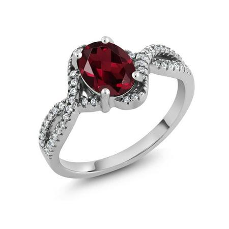 1.98 Ct Oval Red Rhodolite Garnet 925 Sterling Silver Ring ()