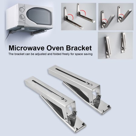 Rack Wall Bracket (Anauto 2x Kitchen Stainless Steel Microwave Oven Bracket Sturdy Foldable Stretch Wall Mount Rack Shelf, Wall Mount Bracket, Microwave Oven Shelf )