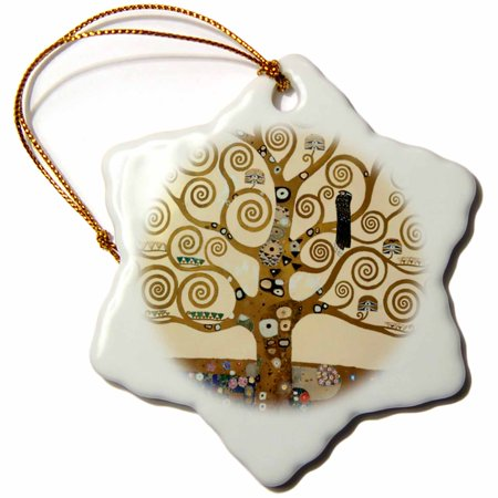 3dRose The Tree of Life 1909 by Gustav Klimt - stylish swirling branches - brown - fine art deco swirls, Snowflake Ornament, Porcelain, 3-inch