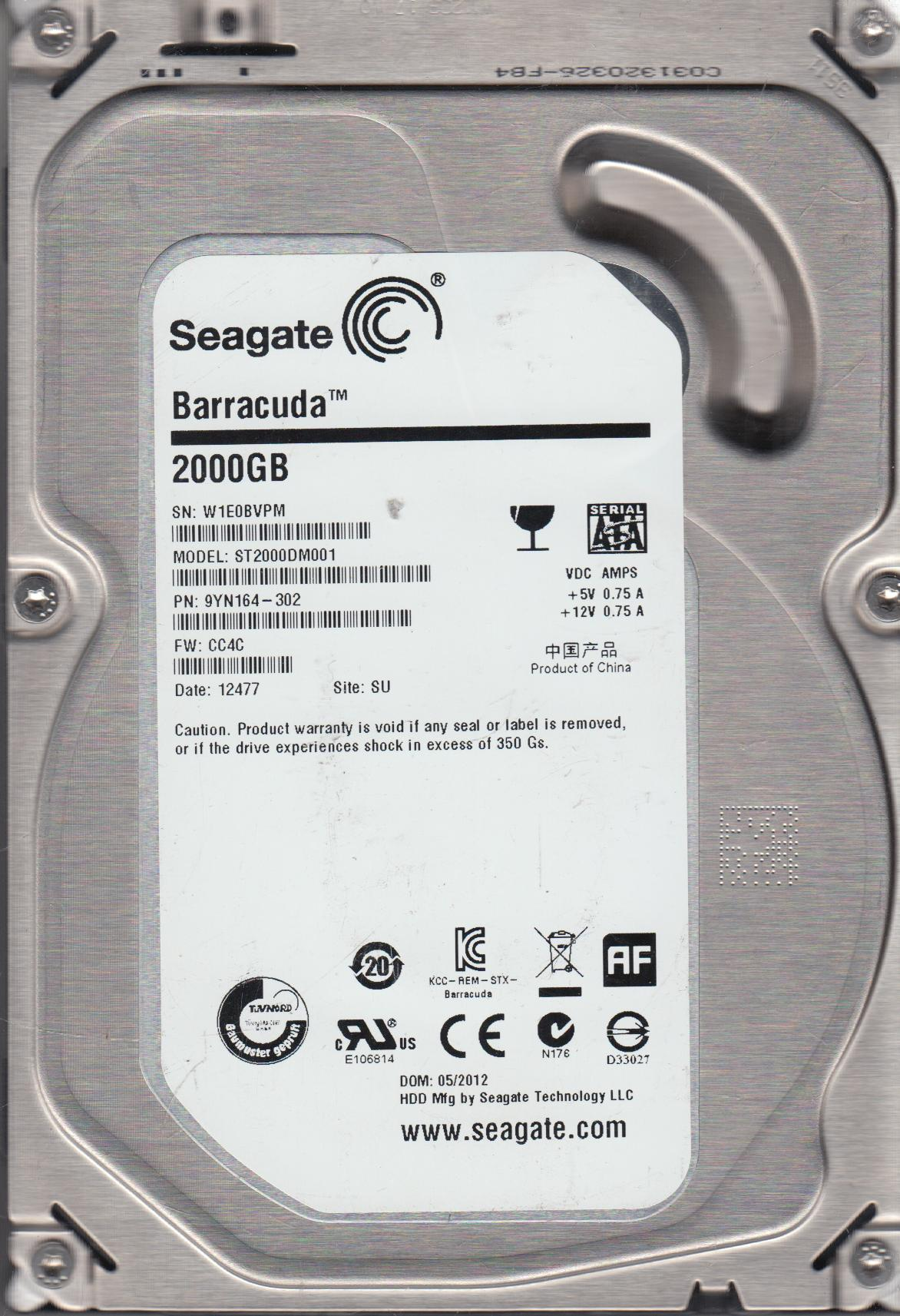 ST2000DM001, W1E, SU, PN 9YN164-302, FW CC4C, Seagate 2TB SATA 3.5 Hard Drive by Seagate