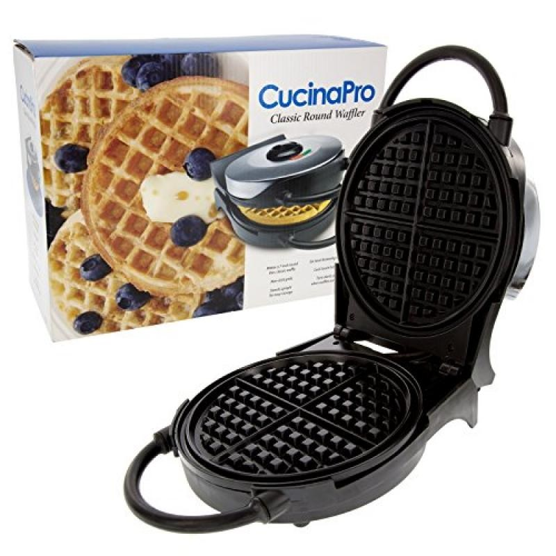 "Waffle Maker- Non-Stick 7.5"" Belgian Waffler Iron w Adjustable Browning Control- Beeps When Ready"