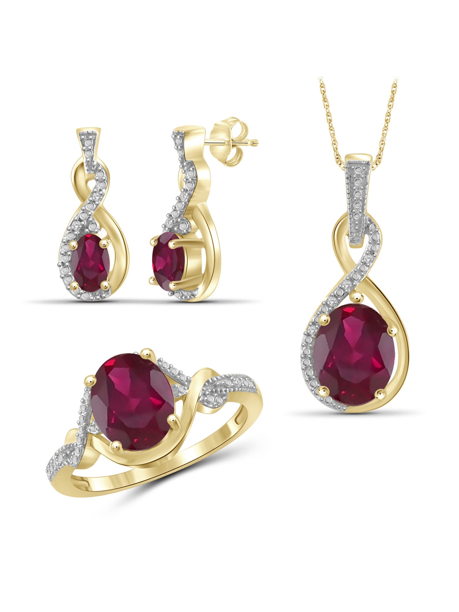 JewelersClub 5 1 2 Carat T.G.W. Ruby And White Diamond Accent 14K Gold over Silver 3-Piece Jewelry set by JewelersClub