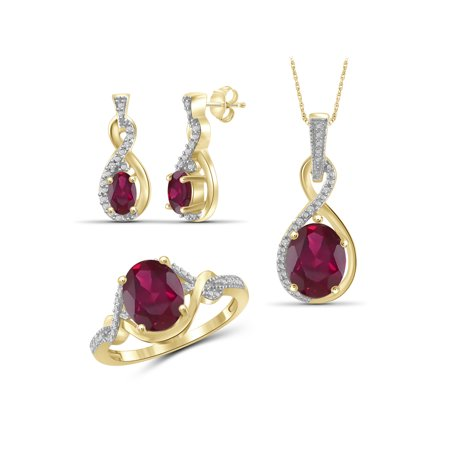 5 1/2 Carat T.G.W. Ruby And White Diamond Accent 14K Gold over Silver 3-Piece Jewelry set