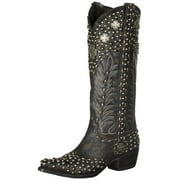 Lane Western Boots Womens Leather Silver Trader Studded Black DD9030A