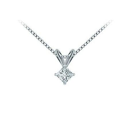 Platinum Princess Cut Diamond Solitaire Pendant 0.15 CT. TW. - image 1 de 2