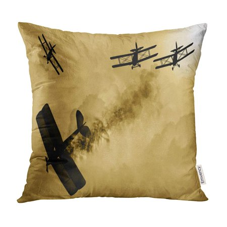 BOSDECO Vintage World War One Biplanes and Engaged in Dog Fight Cloudy Sky Had Success Shooting Pillow Case Pillow Cover 18x18 inch - image 1 de 1