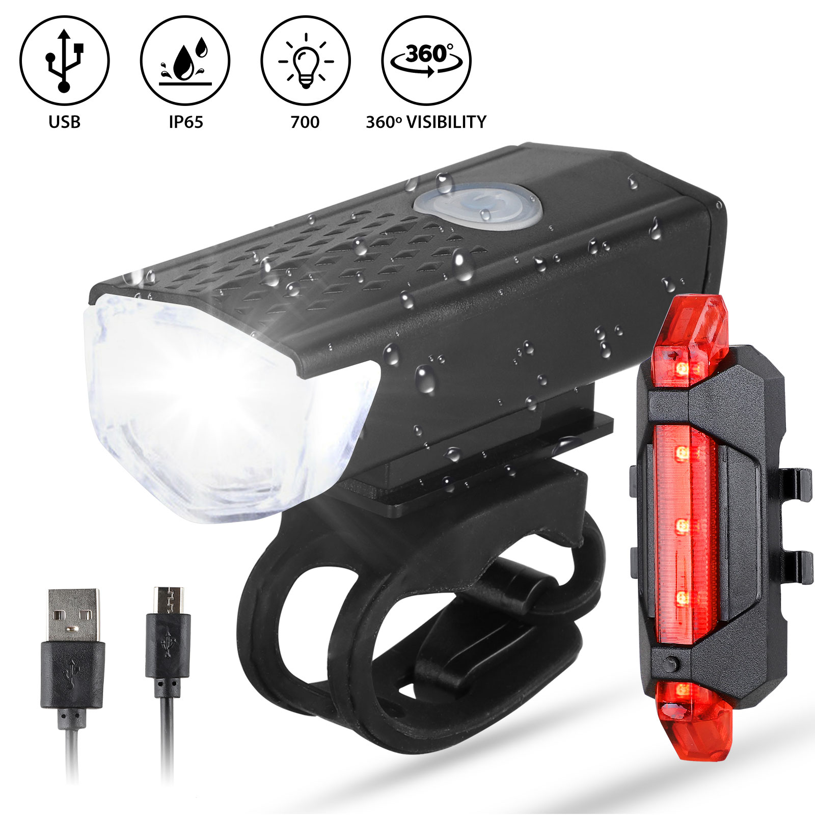 2X Rechargeable Bicycle Bike Headlight Rear Taillight USB LED Light Front Lamp