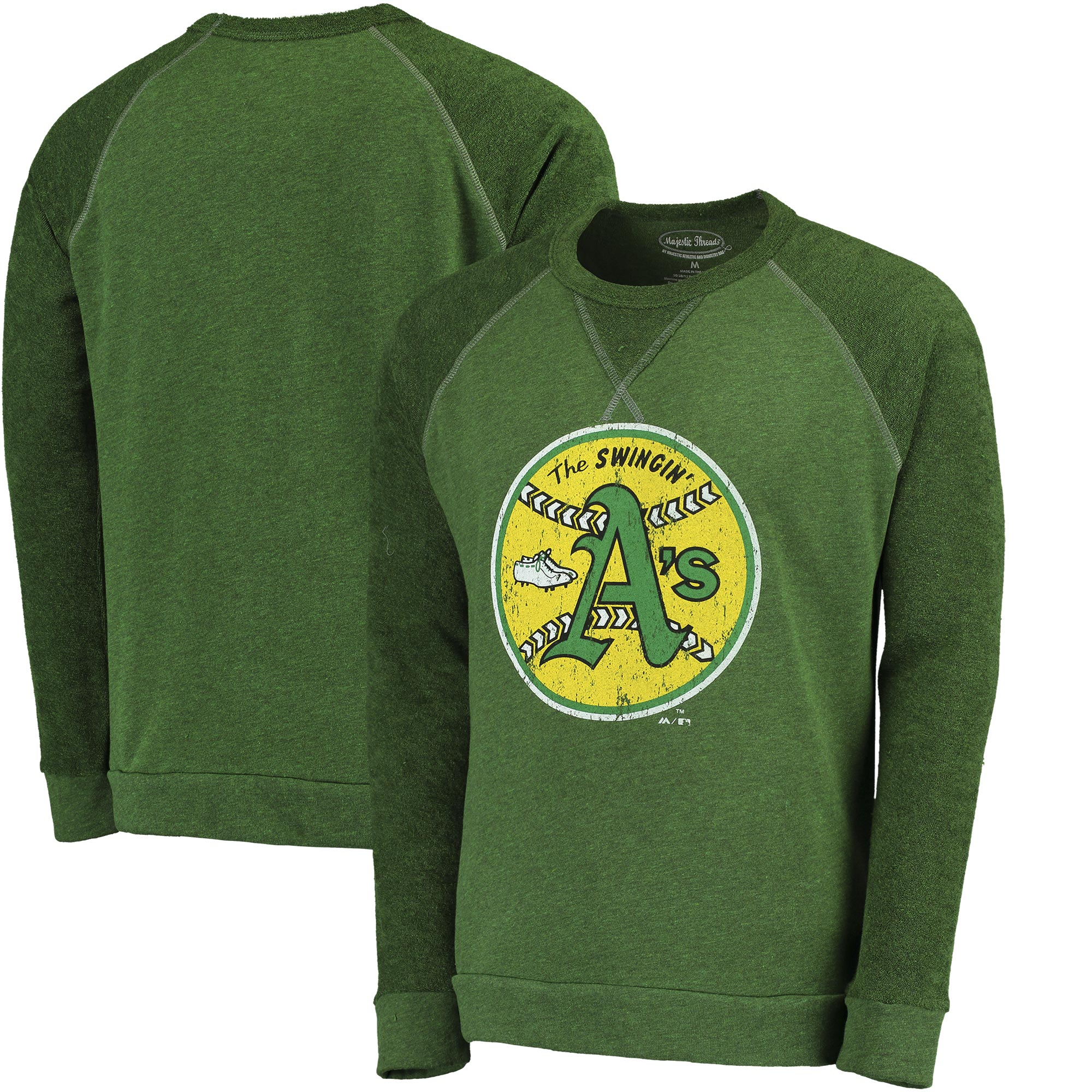 Oakland Athletics Majestic Threads Vintage Terry Crew Raglan Sweatshirt - Green
