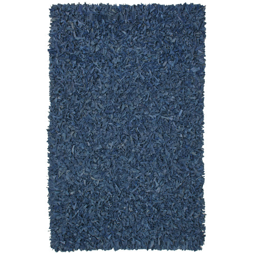 St. Croix Pelle Leather Shag Blue Area Rug