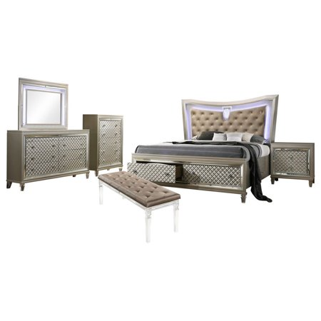 Aviv 6 Piece Bedroom Set, King, Champagne Wood, Transitional (Storage Panel  Bed, Dresser, Mirror, Chest, 1 Nightstand, Bench), Beige Faux Leather ...