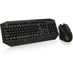IOGEAR Kaliber Gaming Wireless Gaming Keyboard and Mouse Combo - USB 2.0 Wireless RF Keyboard - USB 2.0 Wireless RF Mouse - 2000 dpi - 7 Button - Scroll Wheel - QWERTY - AA - Compatible with Comp