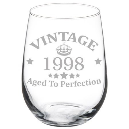 Wine Glass Goblet 21st Birthday Vintage Aged To Perfection 1998 (17 oz Stemless)
