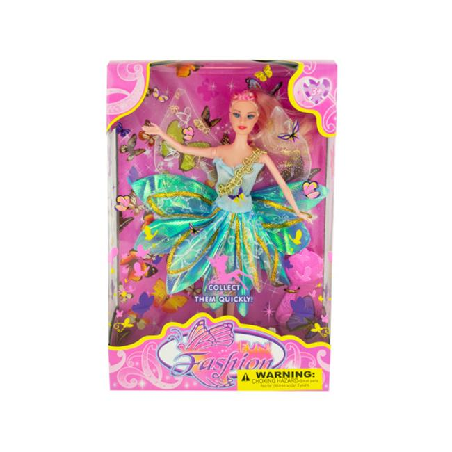 Bulk Buys OF394-2 Butterfly Fairy Fashion Doll with Hairbrush, 2 Piece