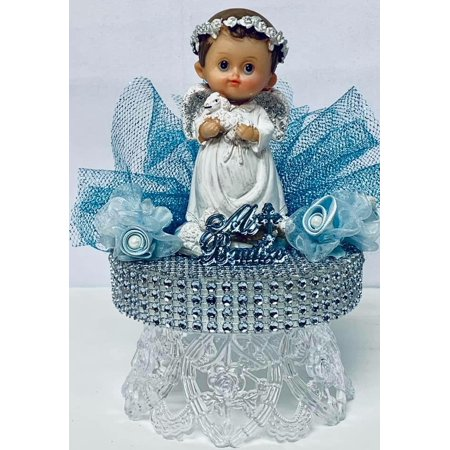 Mi Bautizo-Blue Baptism Angel Boy With Sheep Cake Topper Centerpiece Decoration 6.5