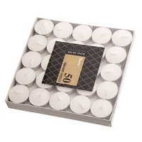 Darice White Unscented Tea Lights in Metal Cups, 50 Pieces
