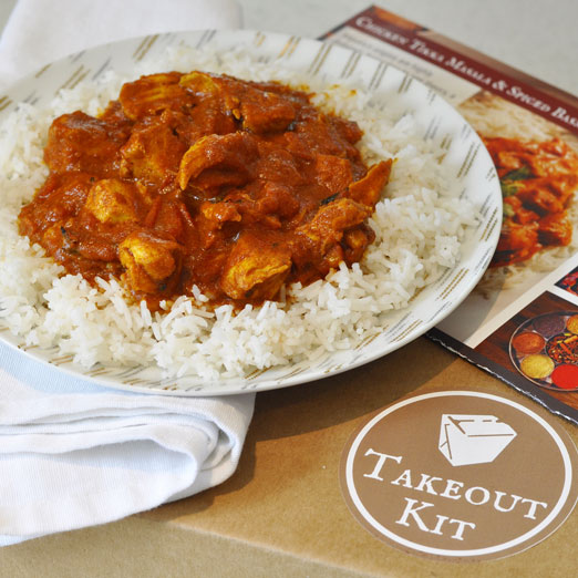 """Takeout Kit """"Indian Butter Chicken & Basmati Rice"""" Meal Kit, Dinner for 4"""