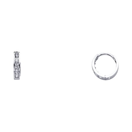Small Round CZ Huggie Hoops Solid 14k White Gold Huggies Earrings Polished Finish Fancy Tiny 10 mm Cubic Zirconia Huggie Earrings